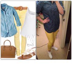 Denim Shirt-Goodwill Yellow Jeans-Old Navy White Chucks-Finish Line