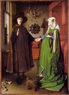 Los Esponsales de los Arnofini, 1434 - VAN EYCK - Convirtió el óleo en Técnica Artística ya que previamente era utilizado para revestir esculturas de madera para preservarlas de la humedad en los alrededores del 1470 - El color verde es MALAQUITA.