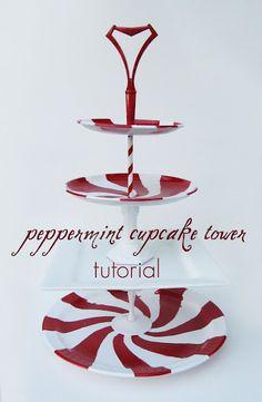 DIY Peppermint Cupcake Tower