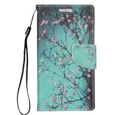 Insten / Pink Cherry Blossom Leather Case Cover Lanyard with Stand/ Wallet Flap Pouch/ Photo Display For Apple iPhone 7 Plus #2272970