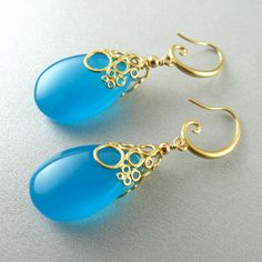 Turquoise Blue Chalcedony Drop Bubble Earrings by SurfAndSand