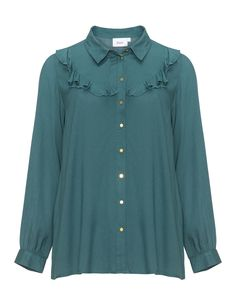 Ruffle detail shirt  in Petrol designed by Zizzi to find in Category Tops at navabi.de