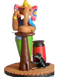 Eco-Friendly Terracotta Ganesha over phone pen stand