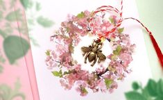 Bee Martisor, Bee Lover, Spring Charm, Romanian Tradition, Lucky Charm, 1 Martie, Martisor with Card and Envelope Shades Of Green, Pink And Green, Red And White, Beginning Of Spring, Beautiful Symbols, Lucky Charm, Postcard Size, Spring Flowers, Envelope