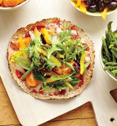 Carrie Underwood's No-Guilt Veggie Pizza Recipe (From Self Magazine)-- pizza on a tortilla for crust