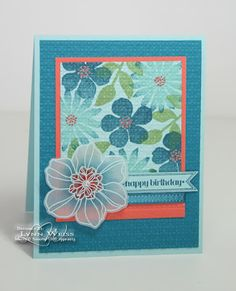 handmade card fromLW Designs ... luv what Lynn has done to create the vellum flower ... embossed with blue embossing powder, colored from behind, cut out and sprayed with a shimmer mist ... great background using flowers from Secret Garden and then texturing ... like the pop of coral in the one mat and flower centers ... dances with the blues ... Stampin' Up!