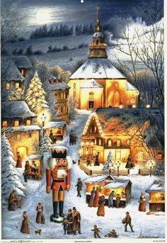 Adventskalender Weihnachten in Seiffen Erzgebirge Kunstvlg. Brück & Sohn Meissen