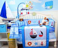 Contemporary Nautical Crib Bedding