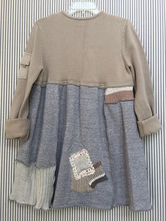 """Upcycled Patchwork Sweater Dress, Shabby Chic Neutral Color Palette Grays and Tans Soft Cotton Front pocket Boho Chic Appliqué On back Size small to medium (Dress form has a 37"""" bust) 20"""" across armpit to armpit 31"""" long Free hips and waist Designed to fit oversized"""