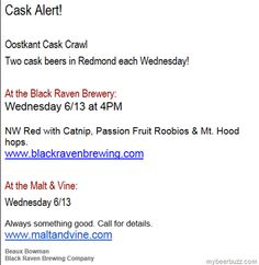 """Black Raven """"NW Red"""" w/Catnip, Passion Fruit Roobios & Mt Hood Hops….Meow 6/13!"""