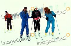 February 17, 1987: Prince Charles, Princess Diana, Prince Andrew and Sarah, the Duchess of York during a photocall in Klosters, Switzerland. Photo:tim Anderson-alpha-Globe Photos Inc 1987 Princessdianaretro
