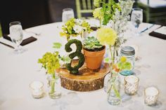 Table Setting...plan on using the wood slabs for sure. Also plan on having potted succulents on table as one of the guests take home gifts. Really liking the moss table numbers.