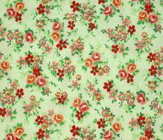 1YD PETITE CALICO ROSE DAISY BOUQUET Orange Peach Mint Fabri-Quilt Sewing Fabric…