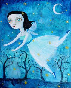 Flying Girl By Felicia Olin Music Of The Night, Call Art, Creepy Cute, Fairy Art, Felicia, Horror Art, Surrealism, Whimsical, Goth