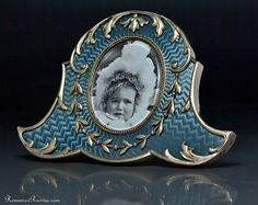 Antique Russian Faberge miniature guilloche enamel picture photo frame for sale