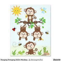 Hanging Swinging Safari Monkeys Baby Nursery Wall Photo Print