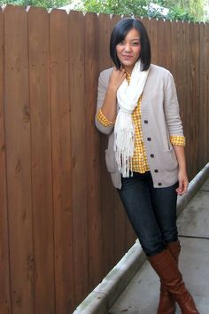 boots, jeans, yellow chambray, neutral blazer and bright scarf