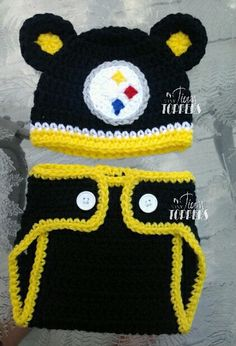 4522faaed Crocheted PITTSBURGH STEELERS Hat and diaper cover set baby boy girl ears  or pom poms