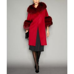 The Fur Vault Fox-Fur-Trim Wool Walker Coat ($3,500) ❤ liked on Polyvore featuring outerwear, coats, currant, woolen coat, the fur vault and wool coat