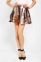 Urban Outfitters Reverse Gold Cut Out Skater Skirt in Gold | Lyst   lyst.com