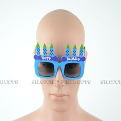 """Novelty """"Happy Birthday"""" glasses with added candles. Novelty Sunglasses, Cool Glasses, Blue Candles, Party Accessories, Some Fun, Fancy Dress, Happy Birthday, Whimsical Dress, Happy Brithday"""