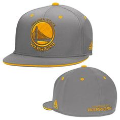 Golden State Warriors adidas Gold Primary Logo Flat Brim Flex Fit – Grey - Golden State Warriors