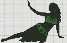 0 point de croix silhouette danseuse orientale - cross stitch oriental dancer