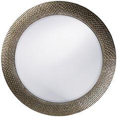 "Howard Elliott Bergman Silver Round Mirror 54"" Diameter"