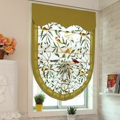 Bird Pattern Fan-Shaped Custom Roman shades in 2019 Curtains And Draperies, Home Curtains, Valances, Drapery, Curtain Styles, Curtain Designs, Rideaux Du Bow Window, Window Shades For Cars, Unique Window Treatments