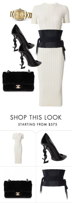 """Untitled #4217"" by dkfashion-658 on Polyvore featuring Helmut Lang, Yves Saint Laurent, Chanel, Rolex and Alex Perry"