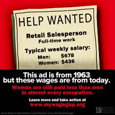 This want ad may look vintage, but the wages sure are not! Every year women lose an average of $11,000 in pay to the wage gap. Tell us what you'd do with an extra $11K at www.mywagegap.org.