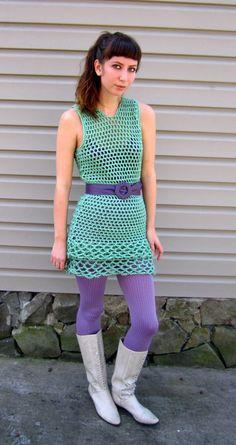 Pastel green crochet dress fancy frill dress from por LindaDiLeva, $70.00