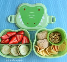Alligator face bento box lunch for preschooler - strawberries (or kiwi), cucumber slices with hummus, two mini bite-sized sealed sandwiches of peanut butter and blackberry preserves, veggie chips, and pumpkin seed kernels. School Lunch Box, Bento Box Lunch, School Lunches, Box Lunches, Lunch Boxes, Lunch Box Image, Lamb Recipes, Healthy Recipes, Toddler Lunches
