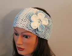 blue color block hand crochet headband with flower, knit headband, head warmer, hair band, head scarf, ear warmer. $19.95, via Etsy.