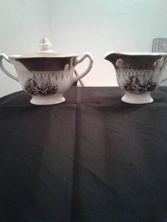 Stetson Golden Empress China Creamer And Covered Sugar Bowl Courting Couple