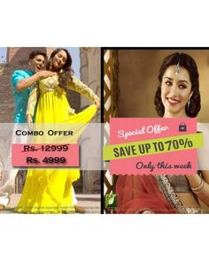 Combo Offer Of Designer Bollywood Embroidered Yellow Suit And Peach Saree