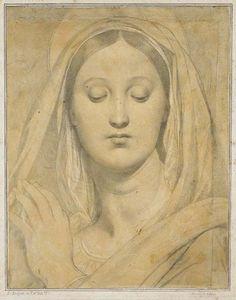 """1866 : Ingres offre à Arromanches un dessin de la vierge à l'hostie . """"...M.Ingres est venu passer quelques semaines à Arromanches.C'est là que le maître, mû par une généreuse pensée,dessina de sa main toujours magistrale,une vierge qui fut mise en loterie au profit de l'église d'Arromanches."""""""