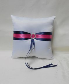 Wedding Accessories White Navy Blue Hot Pink Ring Bearer Pillow Your Colors - $24.99