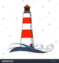 Vintage style hand drawn isolated lighthouse with waves on the white background.