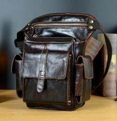 3e0bdb785a36d5 New Men First Layer Cowhide Geunine Real Leather Drop Leg Fanny Waist Pack  Belt Hip Bum