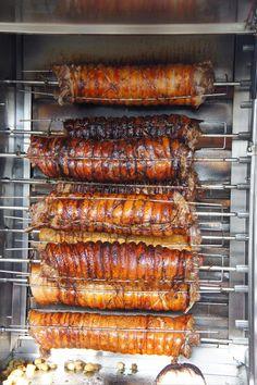 Porchetta on the rotisserie Kielbasa, Food Truck, Deli Food, Bar B Q, Sandwich Shops, Pork Belly, Bbq Grill, Charcuterie, Street Food