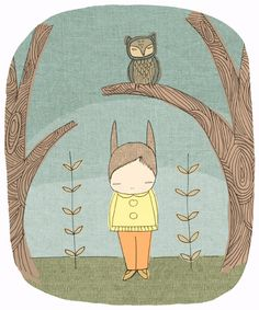 Image of Whimsical Art - Woodland Forest Art Print - Milke in the Woods with Owl