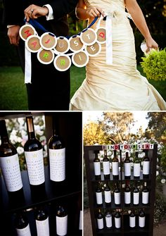 This bride and groom really captured the feel of their venue, a vineyard, by using wine bottles as their reception seating chart. Love this idea!