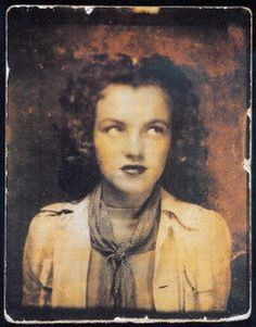 Rare self portrait of a twelve year old Marilyn Monroe (Norma Jean Baker) taken in a photo booth. Photo: The Gene London Collection.