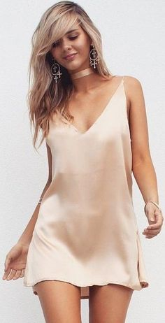 #summer #musthave #outfits | Champagne Satin Silk Slip Dress