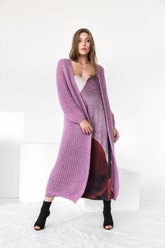 Cotton cardigan.Women/'s cardigan.Cardigan for woman. Cotton cardigan.Lilac Cardigan with pockets.Knit chunky purple cardigan.Lilac cardigan