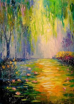 Buy Fabulous Pond, oil painting by Olha Darchuk on Artfinder. - Buy Fabulous Pond, oil painting by Olha Darchuk on Artfinder. Discover … – Buy Fabulous Pond, o - Oil Painting Trees, Pond Painting, Abstract Landscape Painting, Abstract Oil, Watercolor Landscape, Abstract Watercolor, Landscape Art, Landscape Paintings, Watercolor Paintings