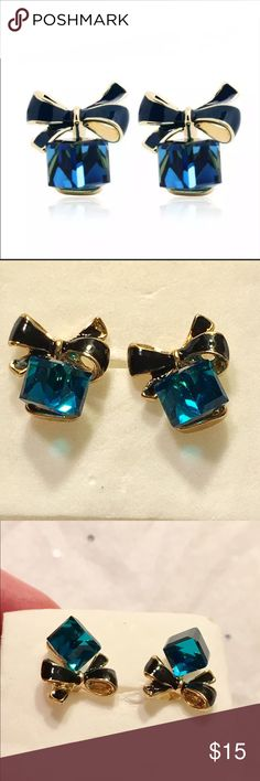 Gift Box Teal Blue Crystal Earrings These are VERY SPARKLY!!! (ACTUAL PICS OF EARRINGS) Very high quality! As always I gift wrap & put in a gift box🎁🎁🎁 I was very empressed with the quality of these!!! A perfect gift for yourself or for your loved ones! I only have 2 available❗️ Purchase soon! These are SO very pretty!!! The crystals pick up the light beautifully!! I ALWAYS GIFT WRAP & include a gift box for every order!🎁  #partyearrings #perfectgift #perfectearrings #tealcrystals…