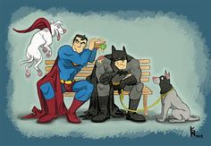 Superman and Batman with their pet dogs - cartoon style art Batman Et Superman, Mundo Superman, Superman Man Of Steel, Spiderman, Batman Beyond, Otp, Dragon Rey, Dc Comics, Game Of Thrones