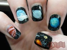 The Daily Nail: Solar Powered Space Nails, Daily Nail, Manicure And Pedicure, Pedicures, War Paint, Solar Power, Hair And Nails, Nail Colors, Body Art